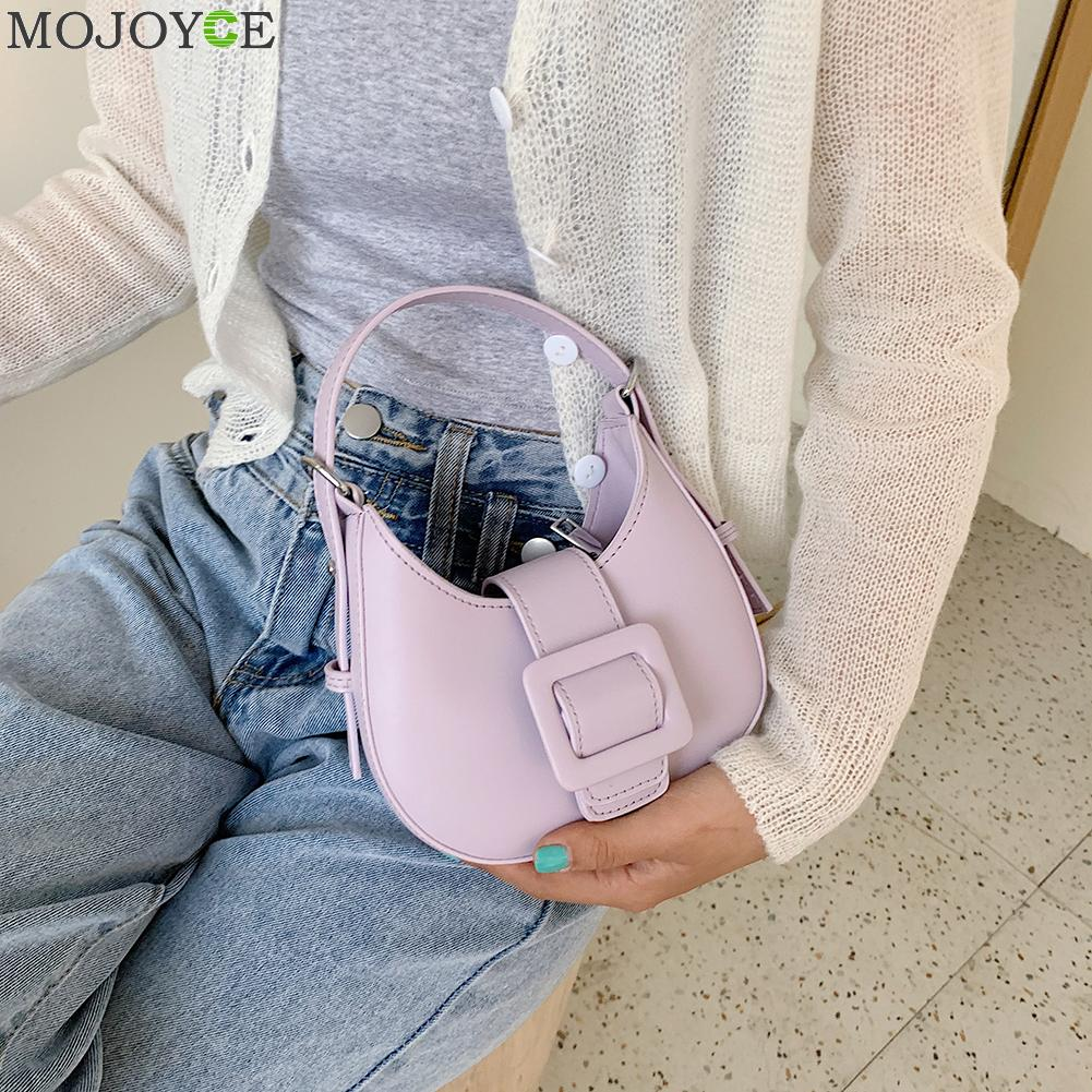 Leather Crossbody Messenger Handbags Women Pure Color Casual Hobo Shoulder Bags Youth Ladies Small Square Bag