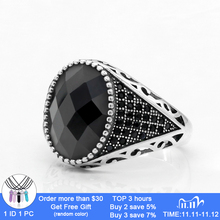 925 Sterling Silver Men Ring with Black Cubic Zircon Stones Vintage Thai Silver Ring for Male Female Turkish Jewelry