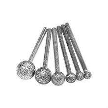 6 pçs/lote redondo diamante rebolo para dremel ferramenta rotativa ferramentas de diamante para granito diamante burs dremel ferramentas acessórios