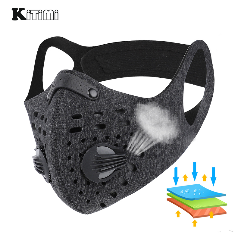 KiTiMi Mask Cycling Outdoor Work Essential Breathable Mask Unisex Face Cover Reusable And Washable With Replacement Pad
