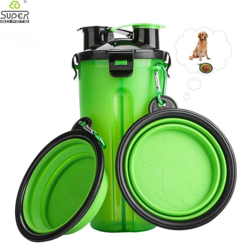 Dog 2 in 1 Bottle Pet Feeder Dog Water Bottle Collapsible Folding Bowl Travel Outdoor Food Water Storage For Cat Dog