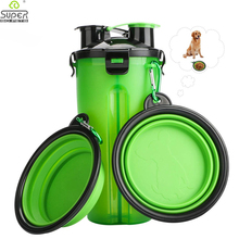 Dog 2 in 1 Bottle Pet Feeder Dog Water Bottle Collapsible Folding Bowl Travel Outdoor