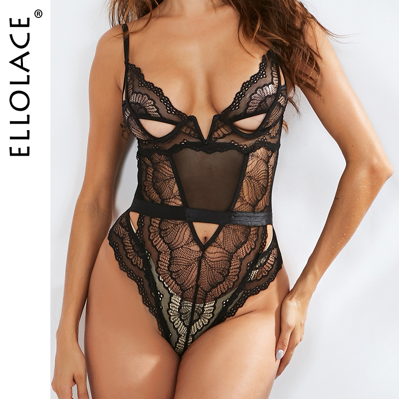 Ellolace Lace Hollow Out Bodysuit Black Women Seamless Transparent Backless Female Overalls Sexy Female 2019 New Solid Rompers
