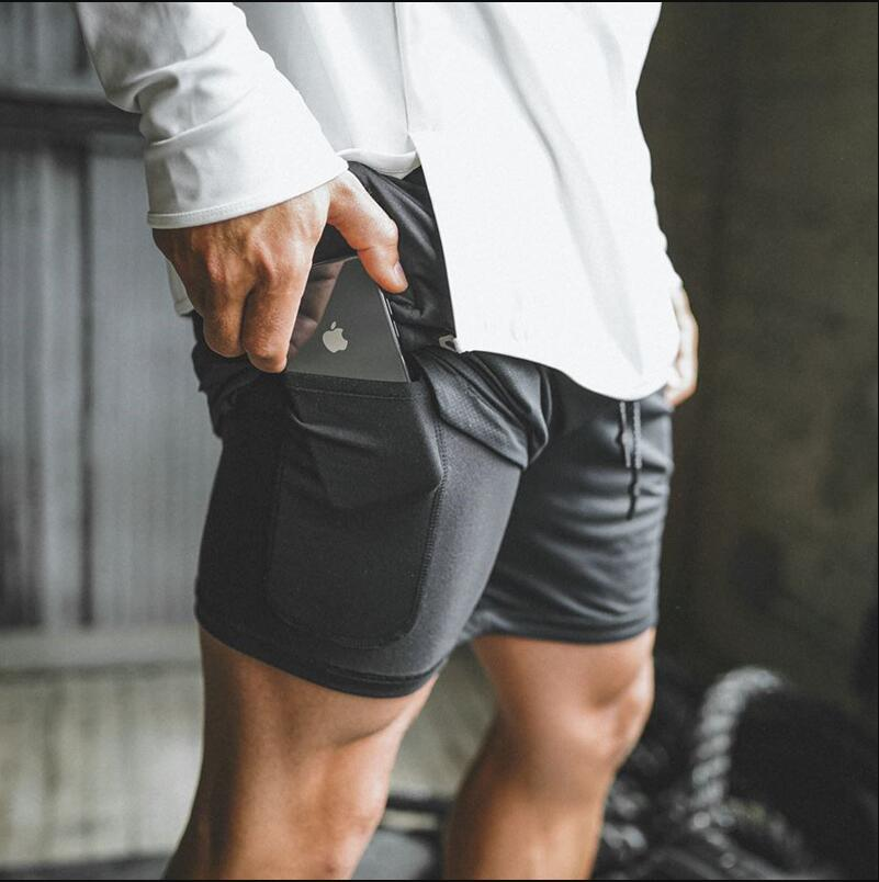 2019 Gym Brand men gym   shorts   Inside and outside double-layer built-in phone pocket   short   sport homme Training Exercise Joggers