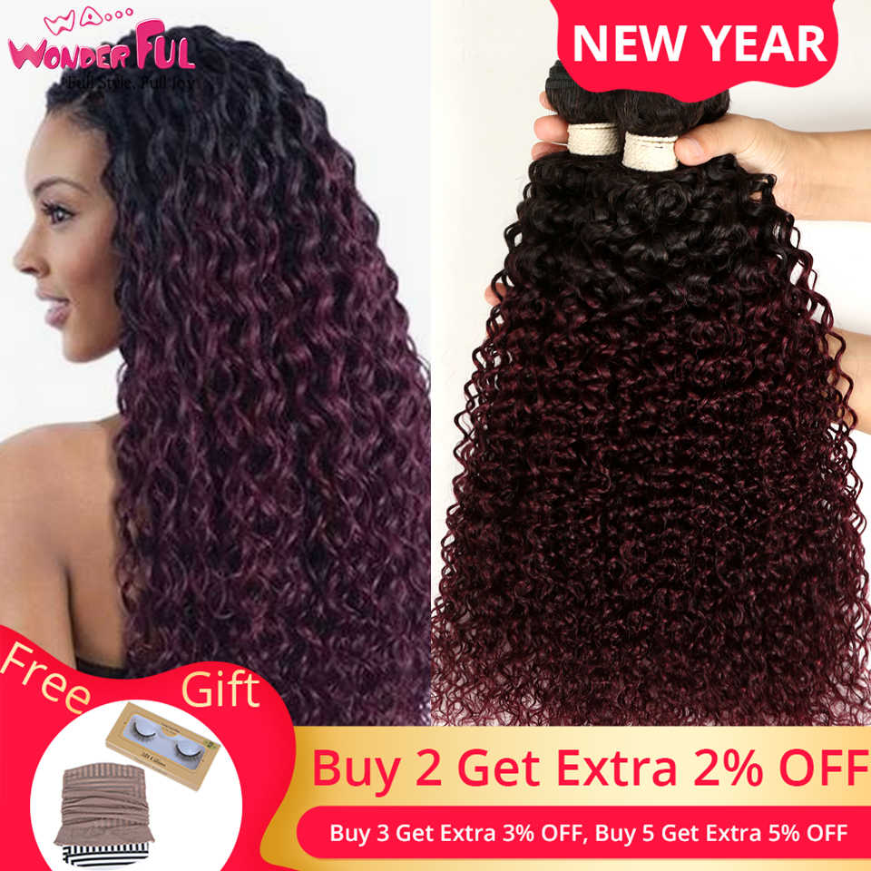 "WA...WONDERFUL Kinky Curly 10""-22"" Mongolian Non-Remy Hair Red Wine Color Kinky Curly Bundles Mongolian Kinky Curly Hair 99J"