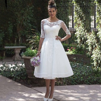 vestido de noiva 2020 New Fashion Sheer Scoop Half Sleeve Knee Length Short Wedding Dress Cheap Lace Appliques Bridal Gown