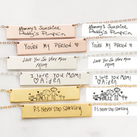 Custom Children Drawing Handwriting Artwork Necklace Name Signature Necklace Inspirational Quotes Message Bar Necklaces Jewelry