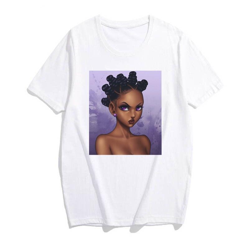 African Girl T Shirt Women Kawaii Harajuku Punk Aesthetic Gothic Vintage Cotton Short Sleeve Plus Size Top Tees Tee Shirt Femme