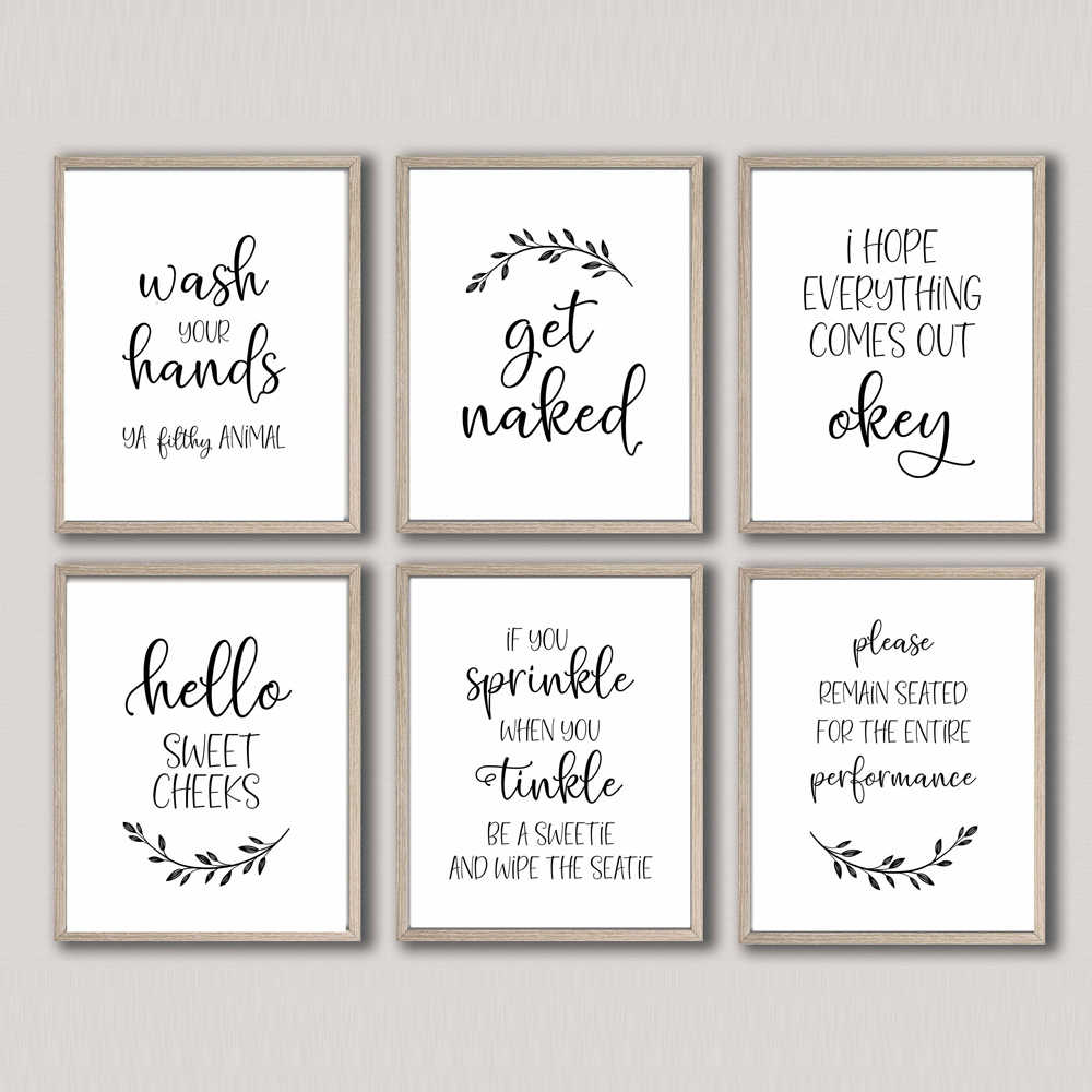 Funny Bathroom Sign Canvas Prints And Posters Get Naked Quote