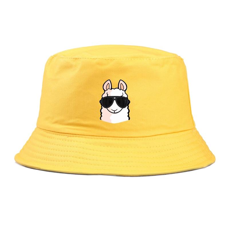 Cute Llama Print Bucket Hat Women Cartoon Fisherman Hat Outdoor Travel Hat Sun Cap Hats For Men And Women Summer Panama Cap
