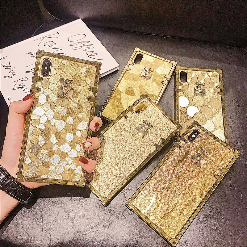 Had2b6a971c5742c6af842998f3ed1280n - Hot 3D Luxury Square Gold glitter case for iphone X XR XS MAX 6 S 7 8 soft cover for Samsung S10 Plus S9 S8 coque