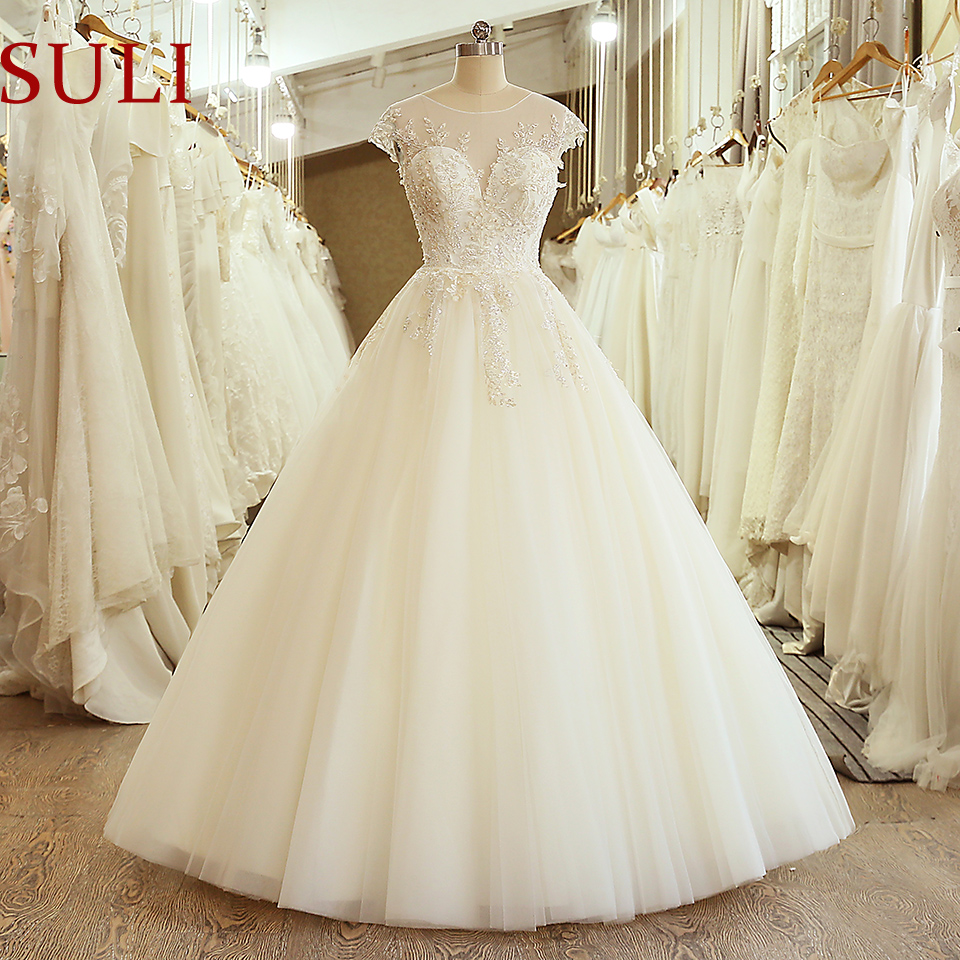 SL-5053 New Arrival Floor Length Cap Sleeve Wedding Bridal Gown Embroidery Lace Appliques Wedding Dress 2020(China)