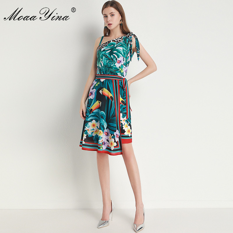 MoaaYina Fashion Designer Suit Spring Summer Women Green Leaf Parrot Print Dress+Lace-up Scarf Two-piece Set