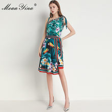 MoaaYina Fashion Designer Suit Spring Summer Women Green leaf Parrot Print dress+Lace-up Scarf Two-piece set(China)