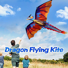 Large 3D Cartoon Dragon Kite Pterosaur Dinosaur Flying Kites with Tail 328ft Kite Line for Kids Adults Outdoor Sports 47x55inch