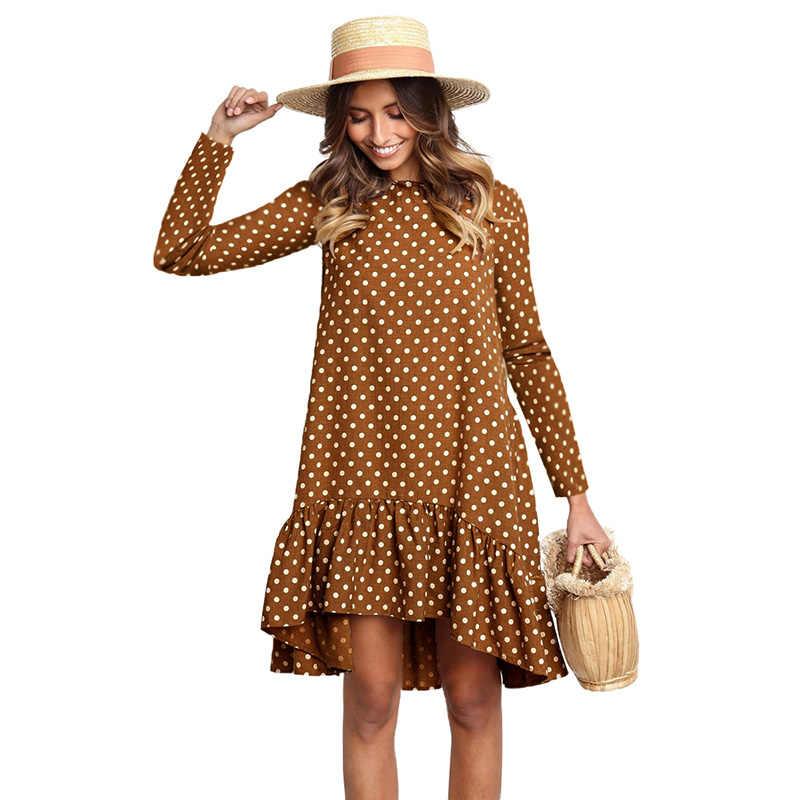 Lossky Nữ Spring Đầm Thời Trang Chấm Bi In Hình Dép Nữ Quần Áo Dài Tay Mini Ngắn Rời Vàng Váy 2020