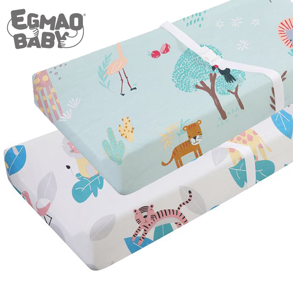 Stretch Fitted Changing Pad Cover -2 Pack Stretchy Changing Table Pad Covers For Boys Girls 89*44cm Crib Fitted Sheet