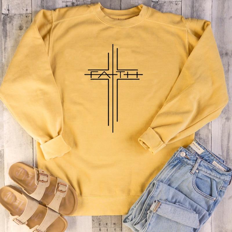 Women Causal Christian O Neck Pullover Hoodie Spring Autumn Woman Clothes Jumper Top Faith Cross Graphic Sweatshirt