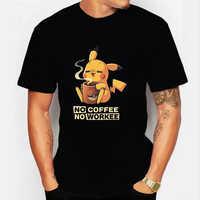NO COFFEE NO workel camiseta PIKACHU POKEMON-pika Camiseta cuello redondo corto para hombre camisetas divertidas Pokemon-pikachu hombres camisetas