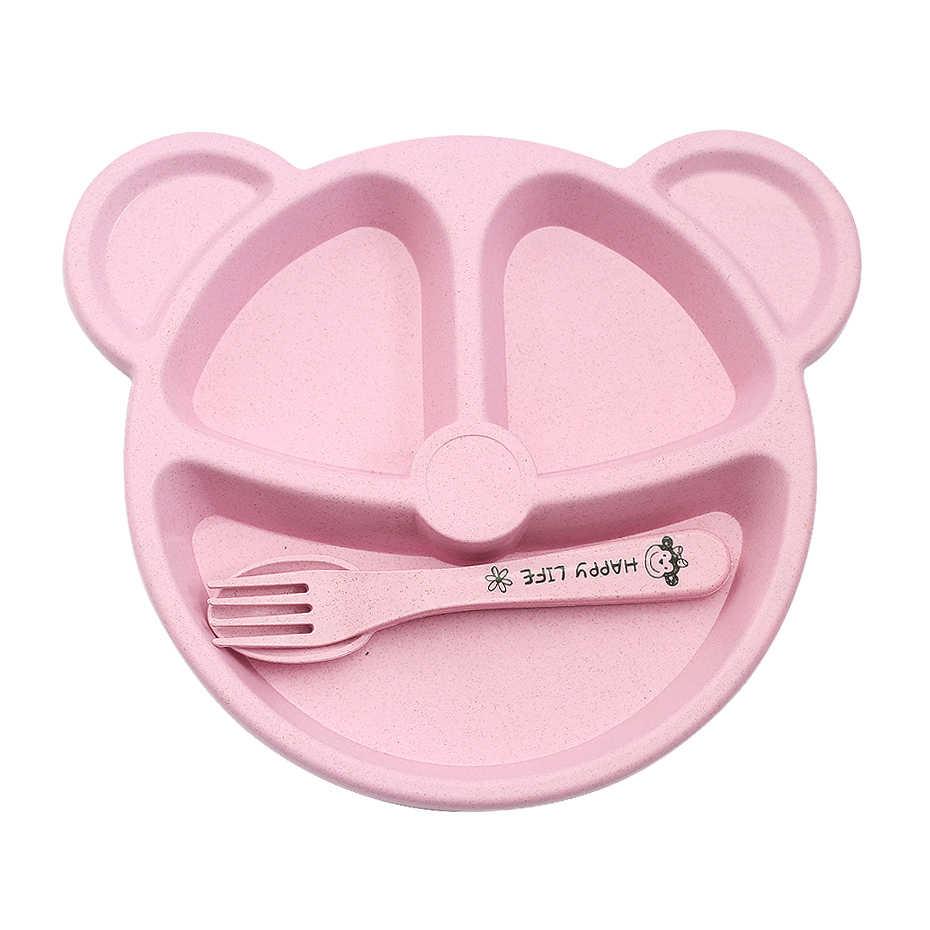 3pcs Baby ไม้ไผ่ชามบนโต๊ะอาหารช้อนส้อมอาหารชุดอาหารเย็นน่ารักการ์ตูน Panda เด็กจานแรกเกิดแผ่นสีชมพู
