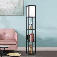 Modern Wooden Frame Floor Lamp LED Shelf Tall Light for Living Room Bedroom Storage Display Standing Lamp Wooden Floor Lamp