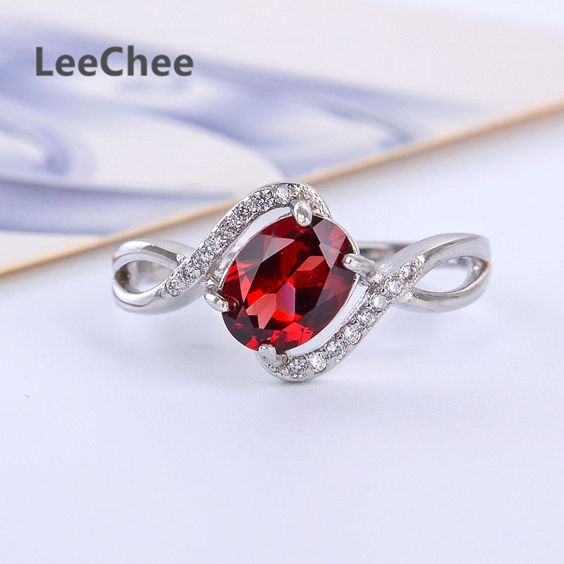 LeeChee 100% Natürliche Granat Ring 925 Sterling Silber Wein Rot Edelstein Edlen Schmuck für Frauen Geschenk 1.5ct Oval Birthstone 6*8MM