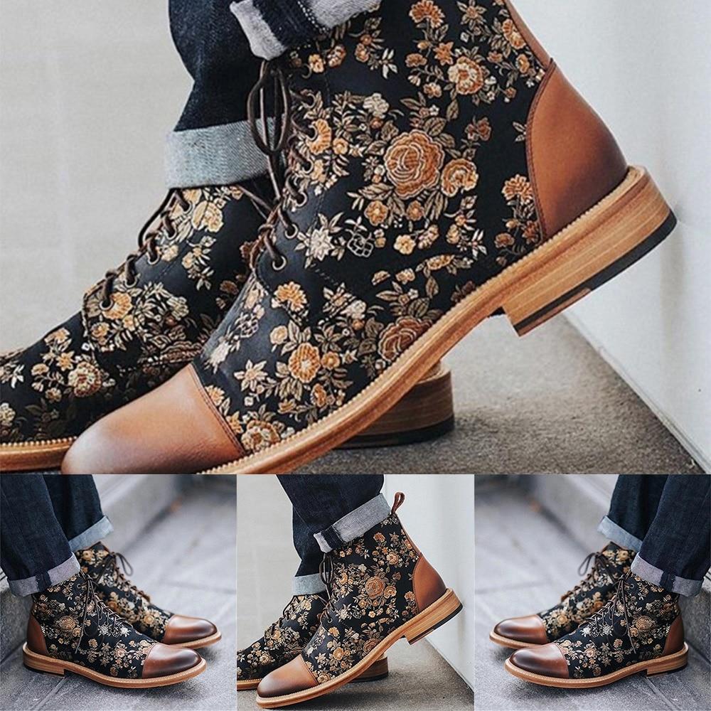 Mens Dress Shoes Vintage Flower Stitched Boots Men Lace Up Booties Male Winter Shoes Ankle Boots Botas Hombre Men Shoes Boots