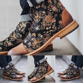 Mens Dress Shoes Vintage Flower Stitched Boots Men Lace up Booties Male Winter Shoes Ankle Boots botas hombre Men Shoes Boots mens jimmy garoppolo stitched name