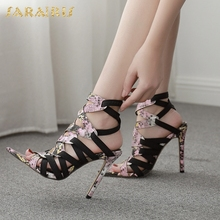Sarairis 2020 New Arrivals Dropship Summer Sandals Woman Shoes Super High Heels Sexy Thin High Heels Party Gladiator Sandals cheap Thin Heels NONE Open Rubber Super High (8cm-up) Elastic band Fits true to size take your normal size Front Rear Strap