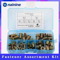 70Pcs/set M4/M5/M6*8/10/13 Zinc Alloy Thread For Wood Insert Nut Flanged Hex Drive Head Furniture Nuts Assortment Kit HW058|furniture nut|inserts for wood|insert nut for wood -