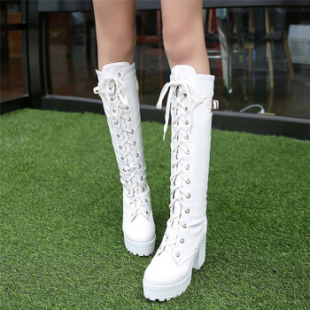 Long Boots Women PU 2019 High Heel Lace Up Thick Platform knee Square Heel Boot Snow Boot Shoe High Quality Warm Botas Mujer 40