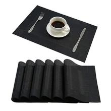 6pcs PVC Heat Insulation Place Mats Rectangle Dining Placemats Kitchen Dinning Table Place Mats Non-slip Dish Bowl Placement