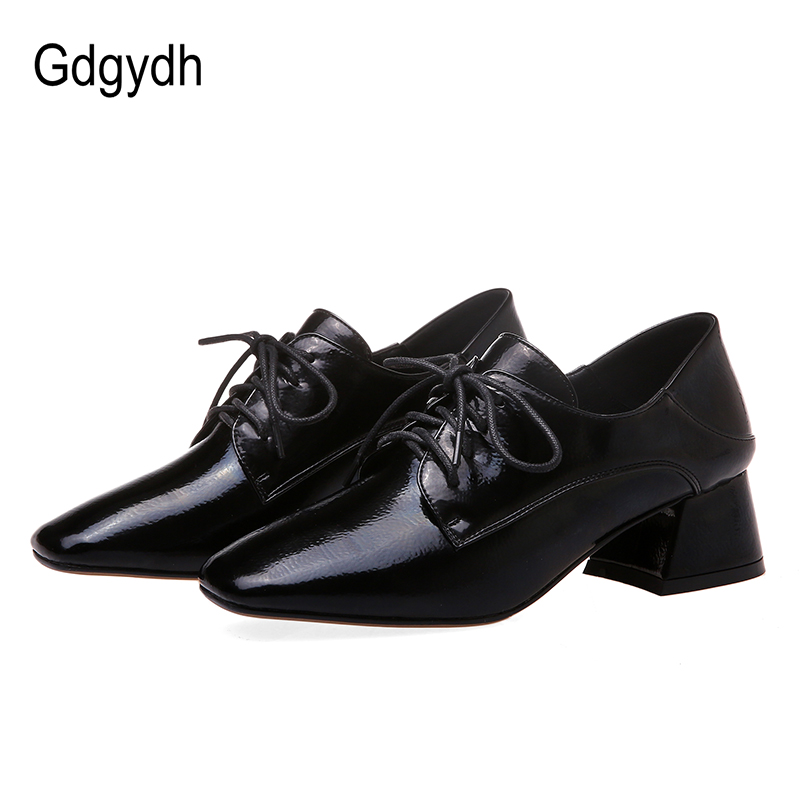 Gdgydh British Style Casual Leather Shoes Women Lace-up Female Shoes Heel Pumps Hoof Heels Job Work Square Toe Shoes Hot Selling