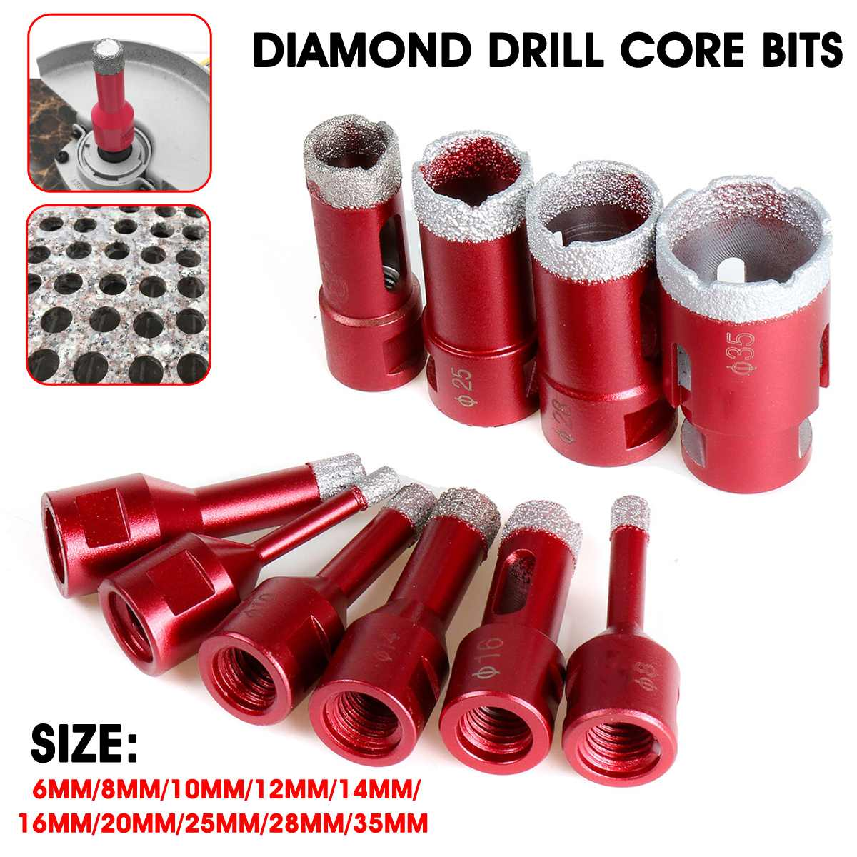 Becornce 1Pc 6mm-35mm M14 Marble Opener Diamond Drill Core Bits Drilling Hole Saw Bit Tools For Tile Marble Granite Brick Stone