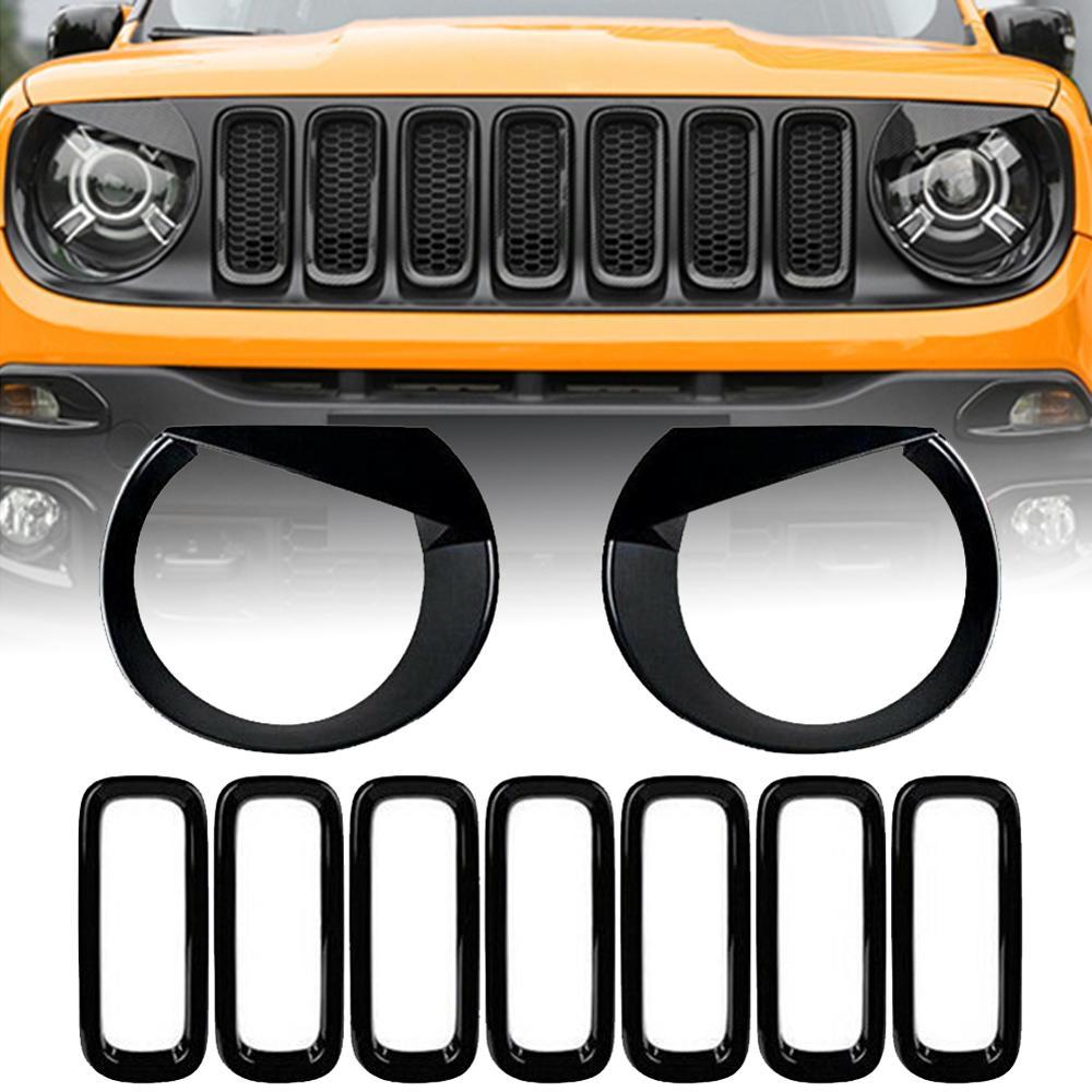 for Jeep Renegade 2019 2020 ABS Carbon Fiber Angry Bird Headlight Covers Head Light Beze 2pcs
