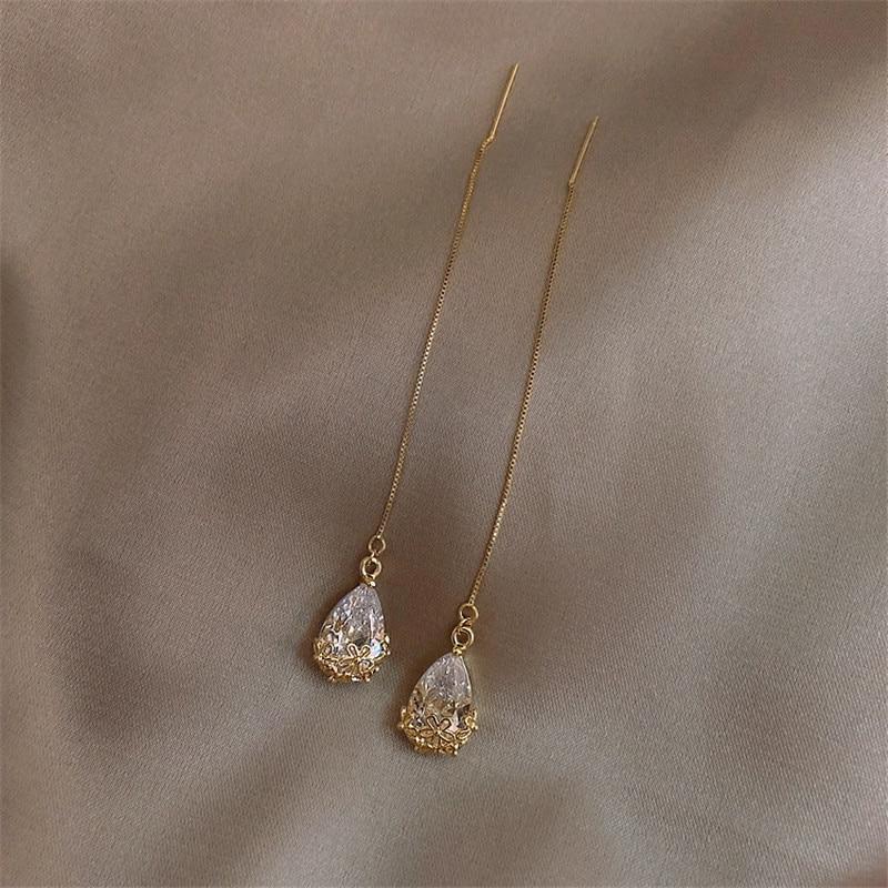 Korean Fashion Zircon Gold Long Pendant Earrings for Women Simple Temperament Crystal Statement Earrings New Jewelry Accessories