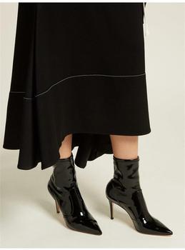 Botines de mujer de charol negro con cordones botas tacón fino para mujer botas de invierno cálidas de felpa para mujer Zapatos estilo callejero