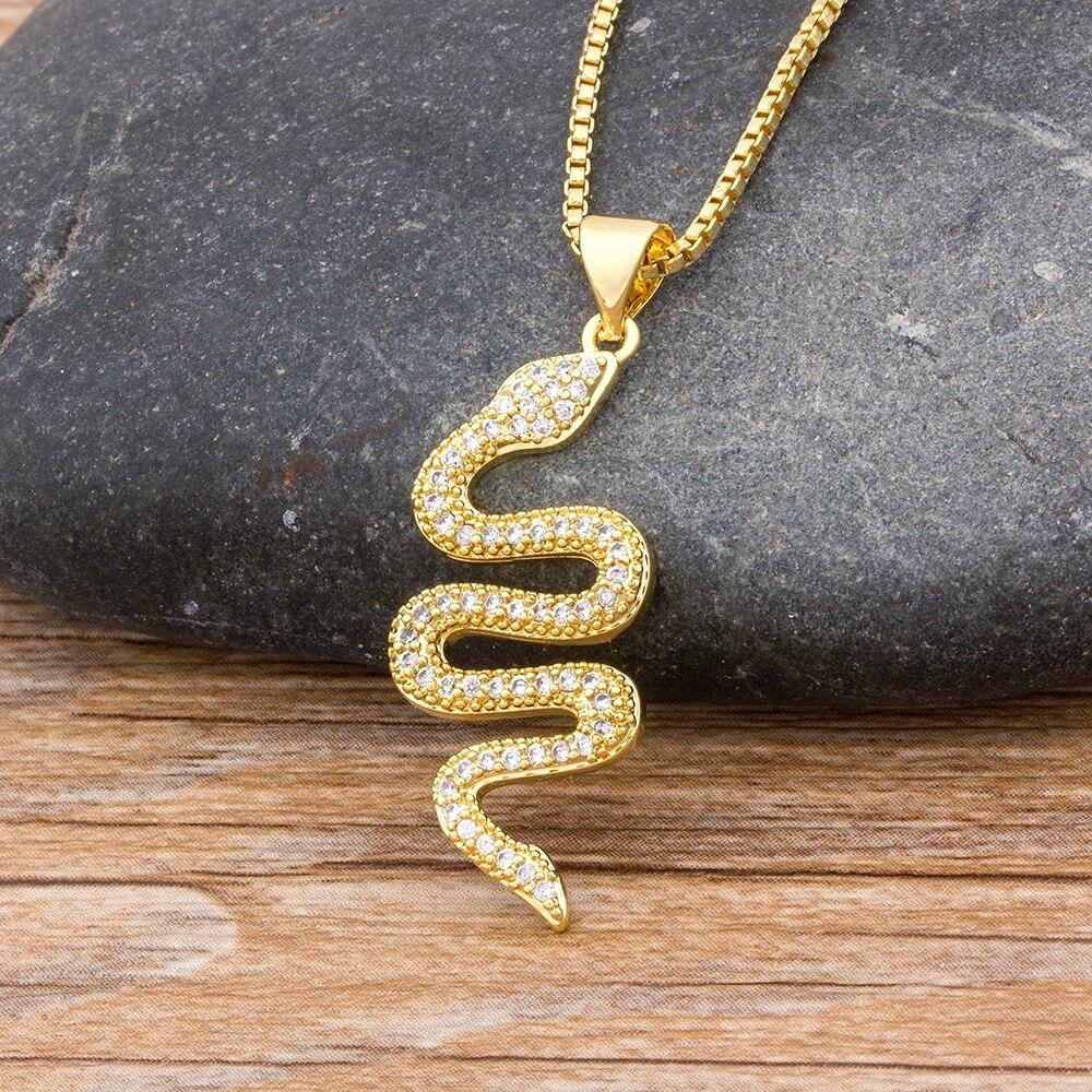 Neue Design Klassische Tier Schlange Baumeln Frauen Anhänger Halskette Kupfer Zirkonia Trendy Weibliche Geburtstag Schmuck Bijoux Geschenk