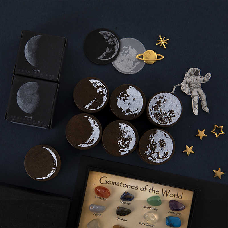 Vintage Phases of the moon Wood Seal Planner Wood Rubber Stamp Set for DIY Scrapbooking Cards Decoration Embossing Craft