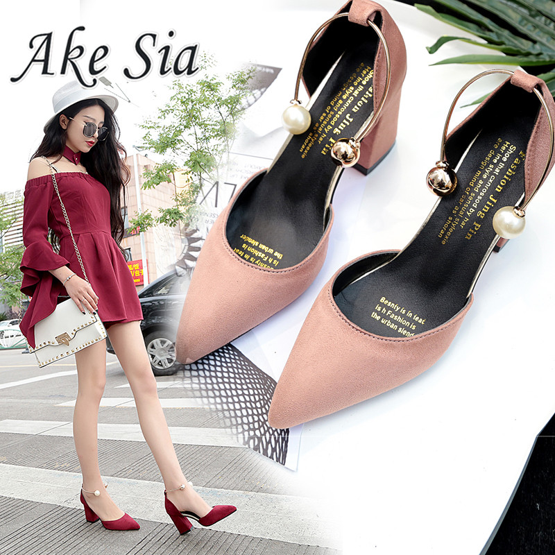 2019 New Korean Version Wild Suede Pointed High Heels Word Buckle Single Shoes Sexy Comfortable Trend High Heels Ladies Shoes