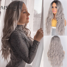 AISI BEAUTY Ombre Light Brown Blonde Synthetic Wig  Wavey MiddlePart Heat Resistant Fiber For Black Women Cosplay Long Wig