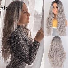 AISI BEAUTY peluca sintética ombré para mujer, fibra larga de Cosplay, resistente al calor, ondulada, color marrón claro y Rubio