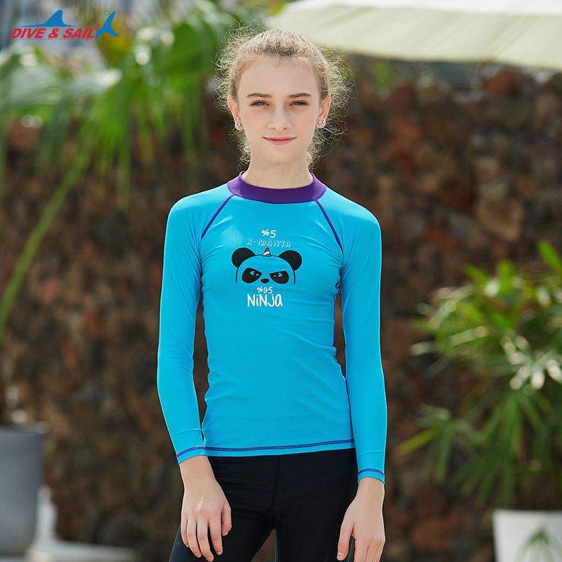 Hot Selling CHILDREN'S Swimwear Split Long Sleeve GIRL'S Big Kid Diving Suit Outdoor Sun Protection Clothing Hot Springs Tour Ba