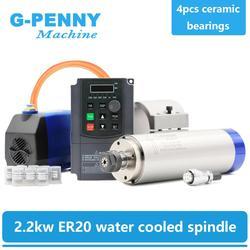Новое поступление! 2.2kw ER20 шпиндель с водяным охлаждением комплект шпиндель водяного охлаждения и 2.2kw инвертор и 80 мм шпиндель кронштейн и 75 В...