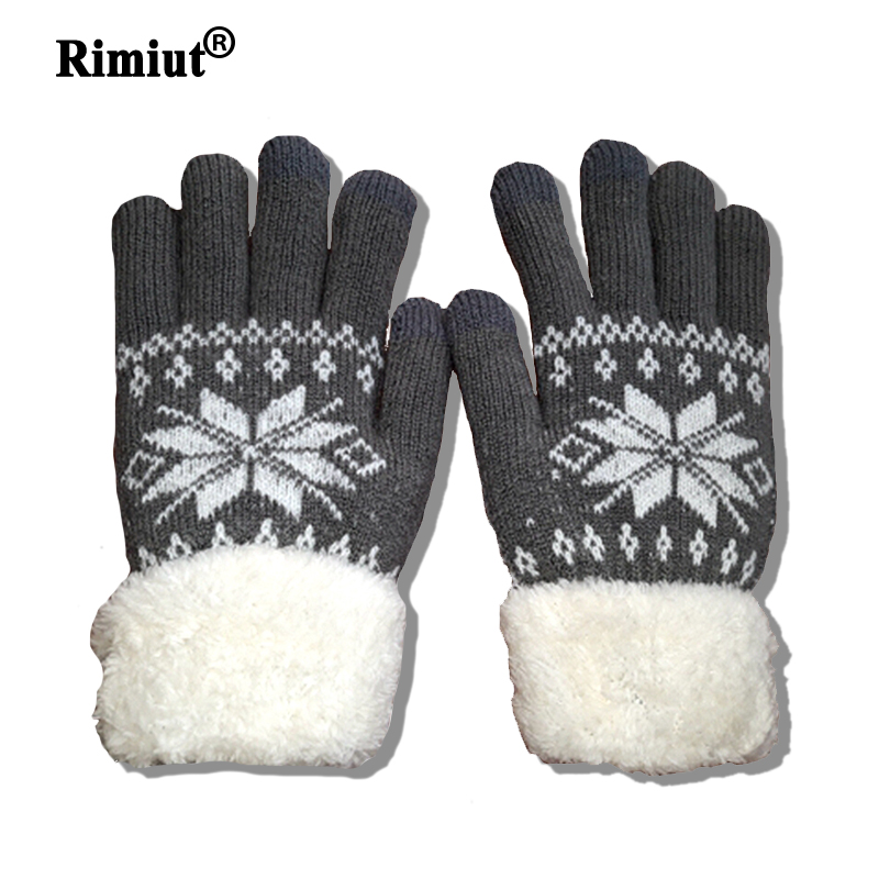 Rimiut Thick Cashmere Two Layer Winter Gloves For Women Snowflake Knitted Pattern Full Finger Skiing & Touch screen Glove