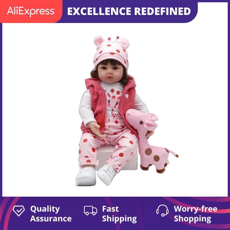 Original npk 47cm bebe boneca reborn da criança macio silicone completo reborn bonecas do bebê encaracolado cabelo lifelike para surpresa presentes da menina boneca