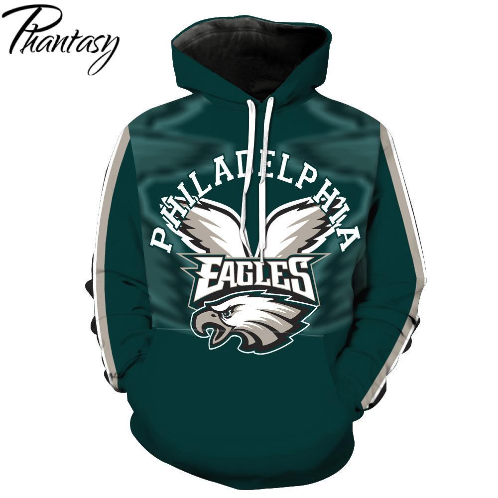 Phantasy 2020 Hoodies Personalized 3D Design American Football Team Hoodies Philadelphia Eagle Olive Team Print  Hoodies
