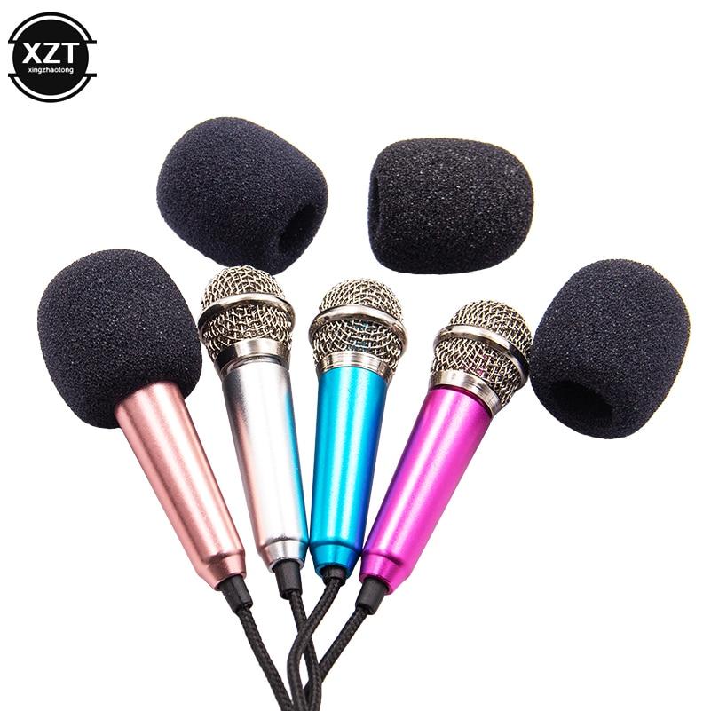 Micrófono estéreo de estudio portátil de 3,5mm KTV Karaoke Mini micrófono para teléfono inteligente ordenador portátil ordenador de sobremesa micrófono de Audio de mano