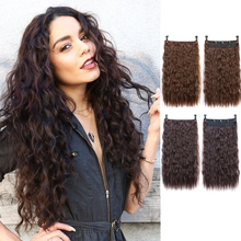 Wig-Piece Curly Hair Brown Black Synthetic Long High-Temperature Ladies Xuanguang24-Inch