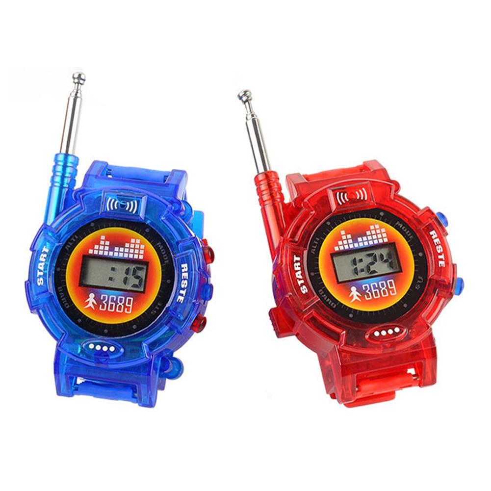2pcs Portable Smart Random Color Family Interactive Intercom Kids Toy Wrist Watch Long Range Walkie Talkie Children Outdoor